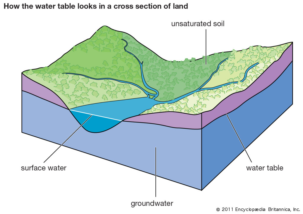 water table surface ground water